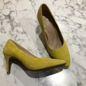 Canary yellow suede pumps